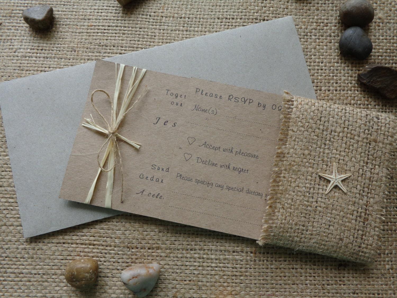 Beach Wedding Invitation Wording: Rustic Beach Wedding Invitation Set Invitation RSVP