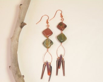 natural stone and copper earrings, long dangle earrings, earthy boho earrings, brown green earrings,