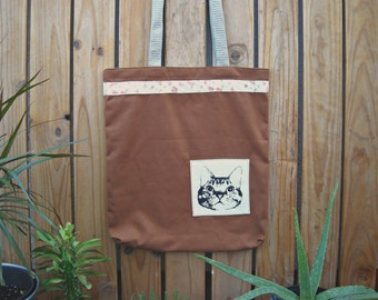 Brown Tote Bag Shopping  with cat