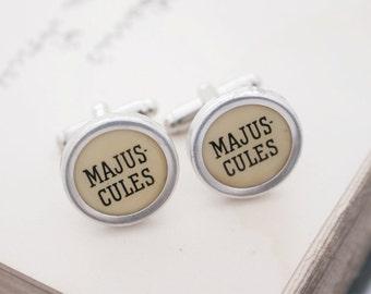 Typewriter Cufflinks Majuscules Key Geeky Cuff Links Gift Idea for Writer Shift Key French Typewriter Jewelry Mens Accessories Cufflinks