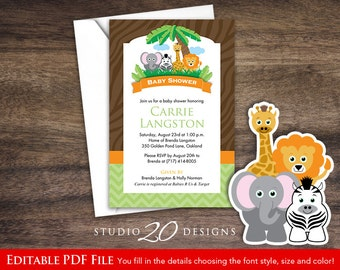 Instant Download Safari Baby Shower Invitations Editable Pdf, DIY 4x6  Printable Baby Shower Jungle Theme