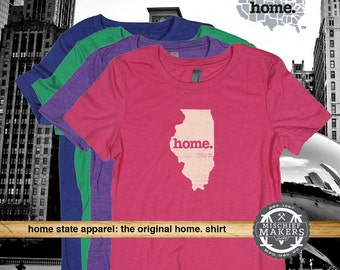 Illinois Home. T-shirt- Womens Red Green Royal Pink Purple