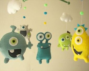 """Baby crib mobile, Monster mobile, Alien mobile, felt mobile, nursery mobile """"Monster Friends 3"""""""