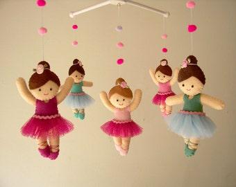 """Baby crib mobile, Ballerina mobile, girls mobile, felt mobile """"Ballerinas"""""""