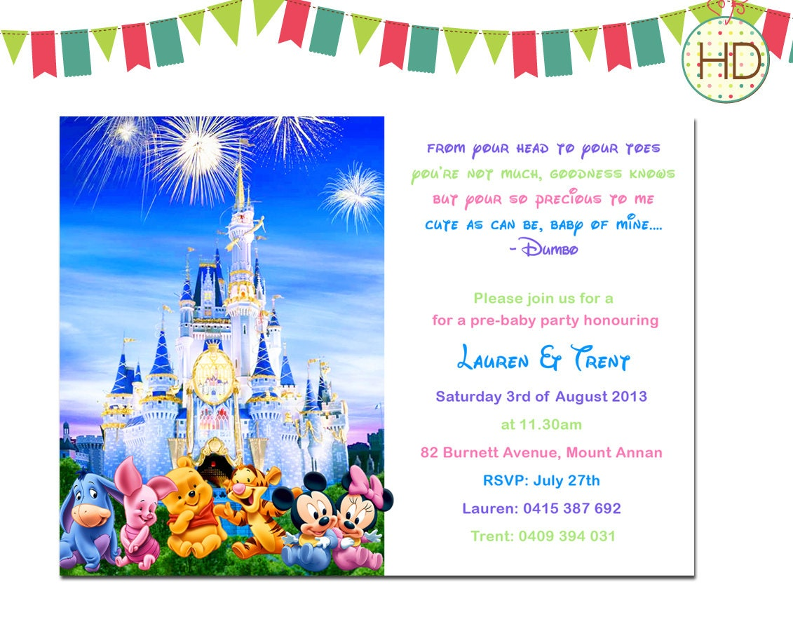 disney baby shower invitation disney castle baby by hdinvitations