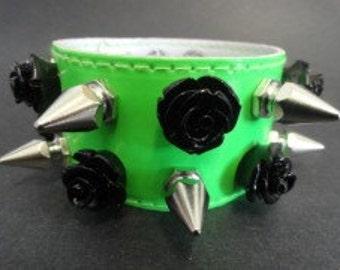 Green PVC Spike & Roses Double Bracelet
