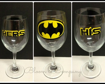 Pair of His and Hers Batman Wine Glasses (20oz)