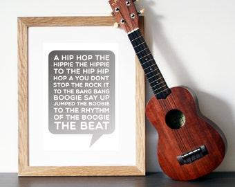 The Sugarhill Gang 'RAPPER'S DELIGHT' - Song Lyric Art - Wall Art - Rap Lyrics - Song Lyrics