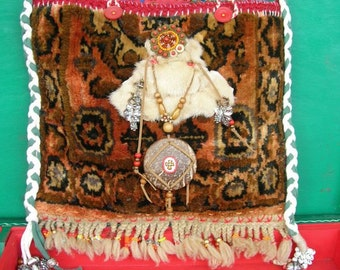 FROM 95 to 65 dollar /  Handmade carpet-rug Gypsy  Nomadic Shoulderbag!