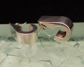 Sterling Silver Earrings Industrial Design Vintage Alicia Mexico