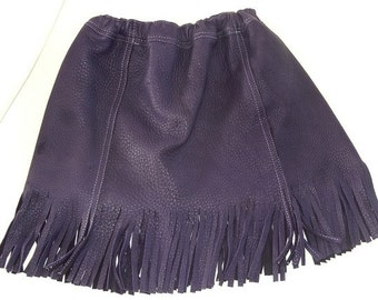 Child's purple fringed leather skirt made with deer hide.  Size 8