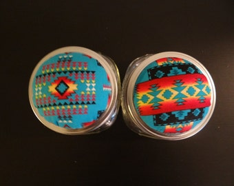 Pin Cushion Jar, Native American Style Fabric, Turquoise
