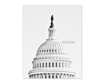 "Washington DC, Art, Black and White Photography, Fine Art Print, Wall Decor, Capitol Building, Poster, Color Option - ""Summit"""
