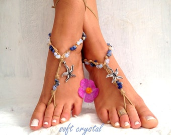 Sea star, Barefoot sandals. beaded sandals,   boho barefoot sandles, crochet barefoot sandals, , yoga, anklet  hippie shoes