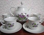 Vintage Henneberg Porzellan 1777 Tea Set Teapot Teacups Saucers Purple Violets Pansies East Germany Thuringia Embossed Kitchenware DDR GDR