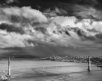 San Francisco Black and White Photograph - Classic and Romantic San Francisco's Golden Gate Bridge in Black & White with Heavy Rainclouds