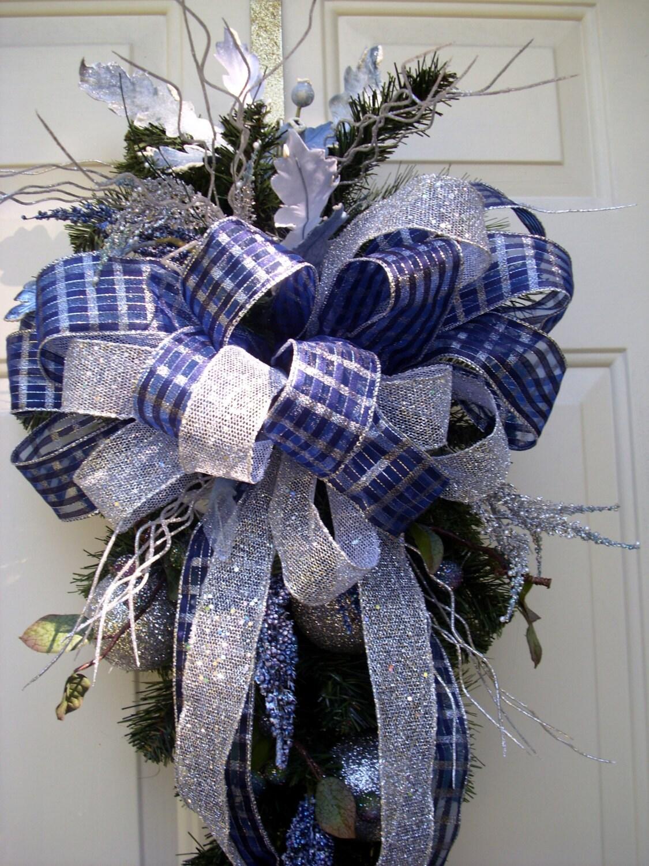 Blue Christmas Swag Wreath Blue And Silver Door Decor