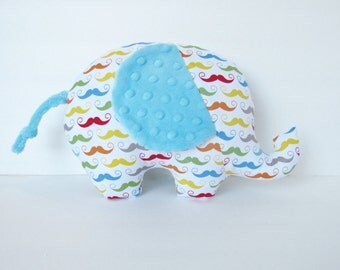 Mustache and Aqua Minky Elephant Baby Toy Pillow, Nursery Pillow Decor, Photography Prop