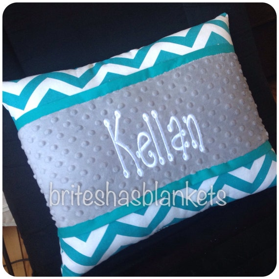 Teal chevron embroidered pillow, teal trim and grey minky dot