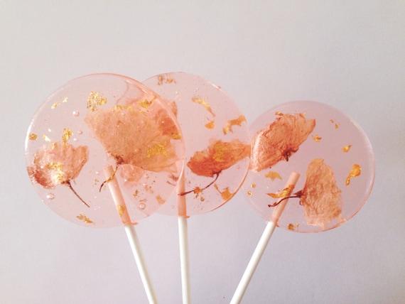 3 Natural Cherry Blossom And Edible 24k Gold Leaf Flakes Wedding Celebration Favors Lollipops