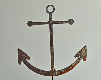 """11"""" 1/2  x 11"""" rusted Anchor on a 23"""" or 8"""" stake"""