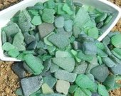 Genuine Seaglass - Green Mix Beach Glass - Sea Foam - Jewelry Supply - 3oz Mixed Size Green Seaglass