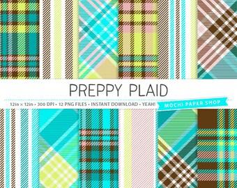 Preppy Plaid Digital Paper, Blue Plaid Patterns, Green Plaid Backgrounds, Brown Plaid Paper Download, Plaid Card Making, Plaid PNG Files