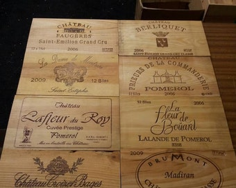 Pack of 12 TRADITION FRENCH VINTAGE wine box end panels / plaques, box ends / sides geniune French - Rustic, Charming Shabby Chic