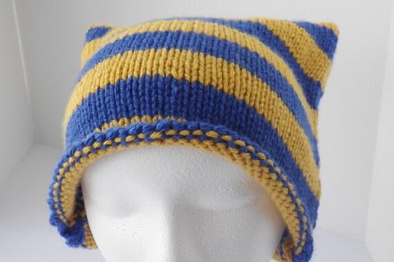 Blue and bronze hat, bronze and blue hat, blue ear hat