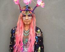 Quirky floral beaded crown  headdress, fashion, headdress, festival, headpiece, head piece, fun