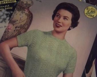 Original Marriner's knitting pattern. no 266 circa 1950.Ladies feather pattern jumper