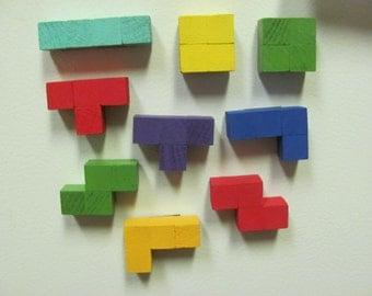 Wood Tetris Magnets