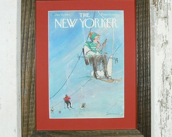 New Yorker cover Jan 30 1960 with reclaimed wormy chestnut boards