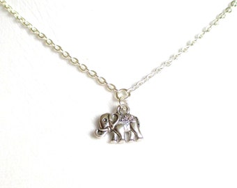 Lucky Elephant necklace - little silver Elephant charm  necklace - fashion jewellery - Uk Jewellery