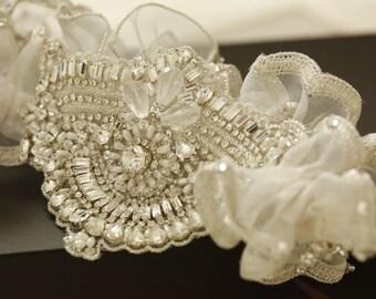Beaded wedding garter set - Ugo ( Made to Order)
