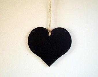 Two Chalkboard Heart Signs - chalk board blackboard hearts; rustic vintage wedding photo prop, save the date