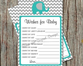 Instant Download Baby Shower Game Wishes for Baby Shower Advice Printable PDF Wishes for Baby Aqua Grey Chevron Printable Boy Shower Game 18