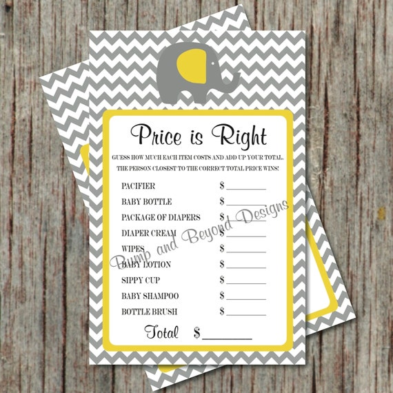 Italian Boy Name: Items Similar To Baby Shower Game The Price Is Right Diy