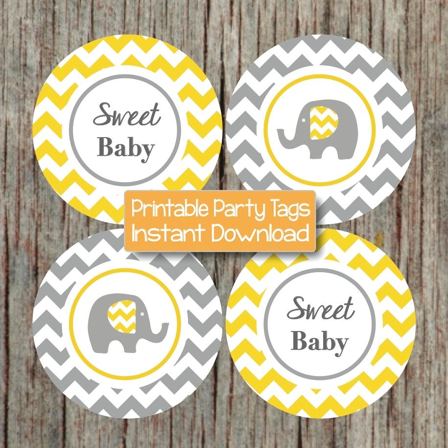 yellow grey baby shower decorations elephant cupcake toppers