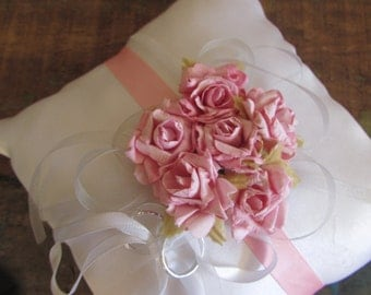 Delicate White and Pink ring Bearer Pillow