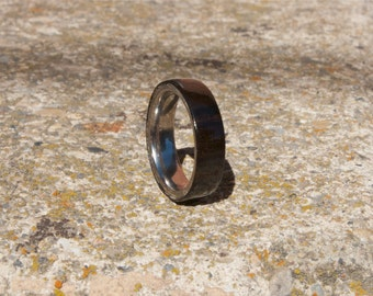 Mens wood wedding band, Ebony ring titanium interior