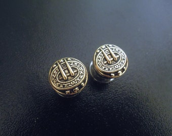 0g Gold Tribal Plugs for Stretched Ears