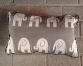Elephant print grey and white nursery pillow