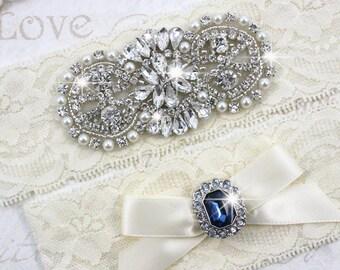ALEXANDRA - Pearl And Sapphire Wedding Garter Set, Stretch Lace Garter, Rhinestone Crystal Bridal Garters, Keepsake Garter, Something Blue