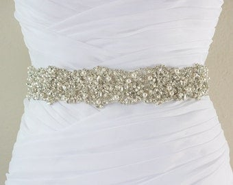 Ready To Ship - JANELLE - Swarovski Pearls And Rhinestones Encrusted Bridal Sash, Wedding Beaded Belt, Crystal Belt