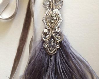 1920s Headpiece, Gatsby Headband Gray Feathers White, Black Ostrich Feather Headband 1920s Headband Silver Beading