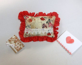Valentine's Day Gift Set- Pocket Pillow, Altered Journal, Card