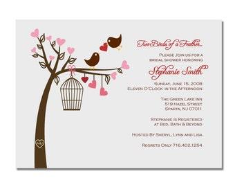 Love Birds Bridal Shower Invitation or Wedding Invitation DIY PRINTABLE Digital File or Print (extra)