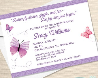 Butterfly Kisses - Baby Shower Invitation - Birthday Invite - Printable - Digital FIle - Thank You
