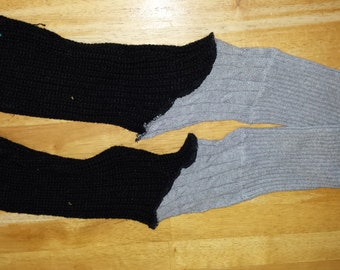 OOAK Upcycled Leg Warmers Black and Gray One Size Fits Most